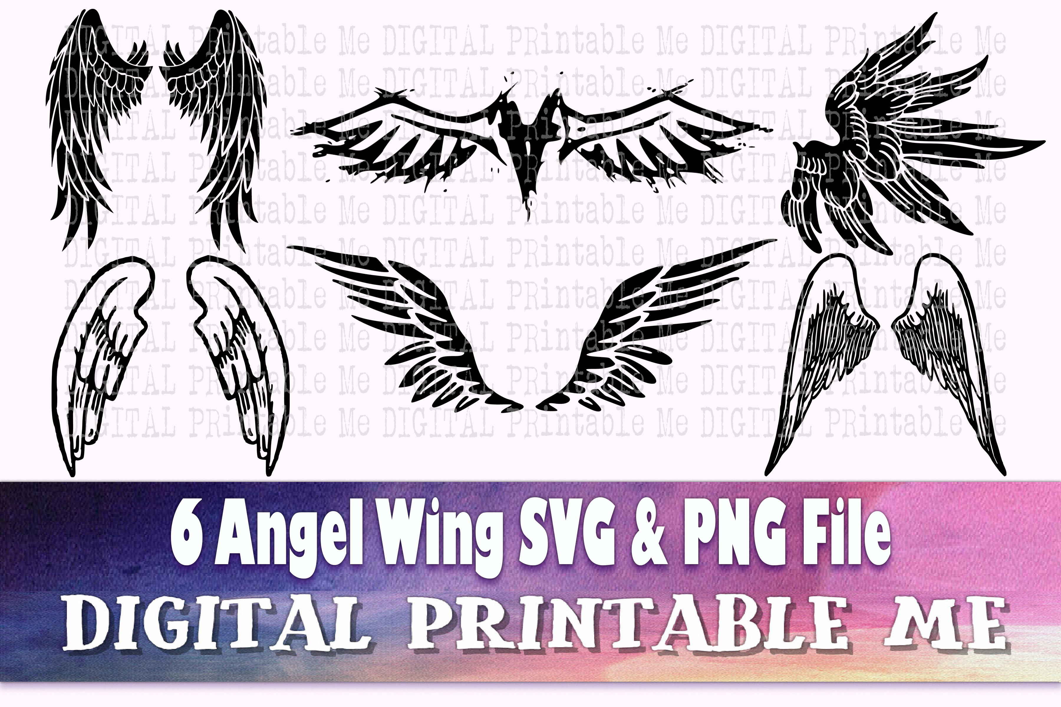 Angel Wings Svg, Silhouette PNG Feather SVG File