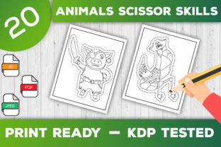 Print on Demand: Animals Scissor Skills Pages for Kids Graphic Coloring Pages & Books Kids By TrendColors 1