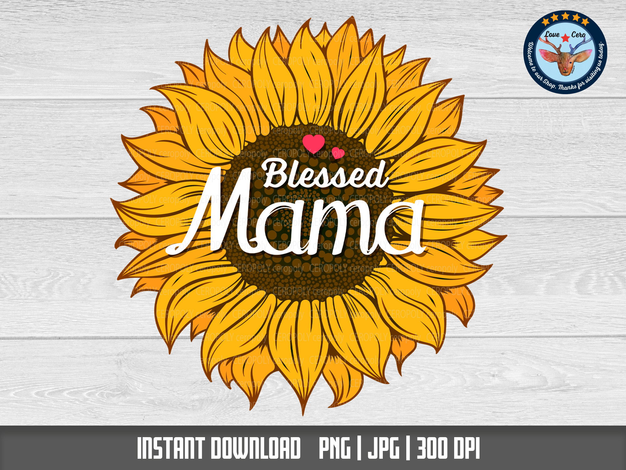 Blessed Mama Sunflower Sublimation SVG File