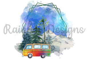 Print on Demand: Camping Watercolour Frame Graphic Print Templates By RainbowDesigns