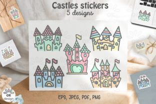 Print on Demand: Castle Stickers. Printable 5 Designs. Graphic Illustrations By OK-Design