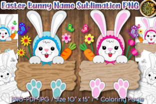 Print on Demand: Easter Bunny Wood Board Monogram PNG Graphic Print Templates By V-Design Creator