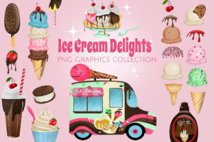 Ice Cream Shoppe Graphics Set Graphic Illustrations By Dapper Dudell
