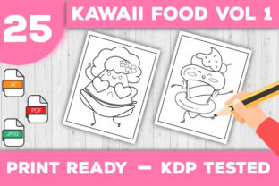 Print on Demand: Kawaii Food Coloring Pages Vol 1 Graphic Coloring Pages & Books Kids By TrendColors