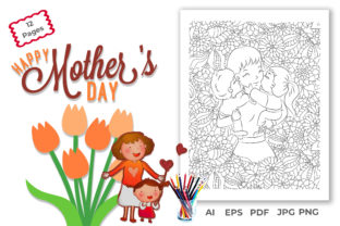 Mother's Day Kids Coloring Book Pages Graphic KDP Interiors By maimuna.aktar88