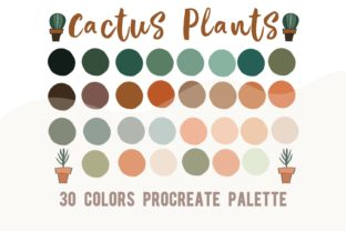 Procreate Color Palette Cactus Plants Graphic Actions & Presets By Chubby Design