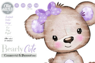 Print on Demand: Purple Girl Bear Bow PNG Clip Art Vector Graphic Illustrations By clipArtem