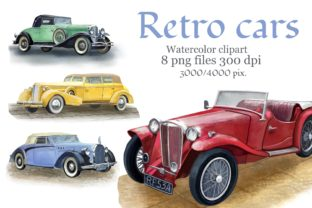 Print on Demand: Retro Cars Watercolor Clipart, Vintage Graphic Illustrations By Marine Universe