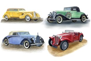 Print on Demand: Retro Cars Watercolor Clipart, Vintage Graphic Illustrations By Marine Universe 2