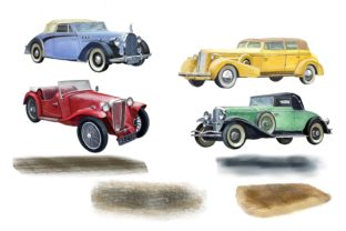 Print on Demand: Retro Cars Watercolor Clipart, Vintage Graphic Illustrations By Marine Universe 3