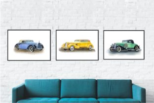 Print on Demand: Retro Cars Watercolor Clipart, Vintage Graphic Illustrations By Marine Universe 4