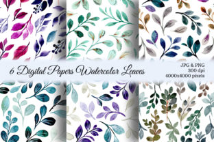 Print on Demand: Seamless Pattern Leaves Watercolor 23 Graphic Patterns By asrulaqroni