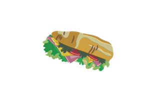 Submarine Sandwich Design Food & Dining Embroidery Design By DigitEMB