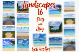 Print on Demand: Summer Landscapes Clipart Graphic Illustrations By LeCoqDesign 1