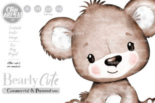 Print on Demand: Unisex Baby Teddy Bear Vector Clip Art Graphic Illustrations By clipArtem