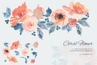 Watercolor Coral & Dusty Blue Clipart Graphic Illustrations By Patishop Art
