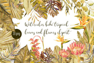Print on Demand: Watercolor Tropical Boho Floral Clipart Graphic Illustrations By ElenaZlataArt