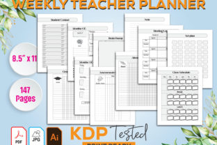 Weekly Teacher Planner UN-DATED Graphic KDP Interiors By GraphicTech360