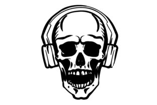 Skull Wearing Headphones Designs & Drawings Craft Cut File By Creative Fabrica Crafts