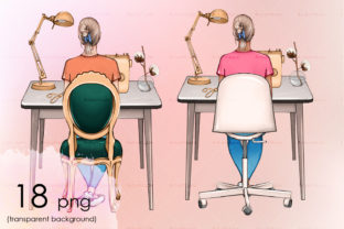 A Girl Sitting on a Chair. Sewing Table Graphic Objects By arctiumstudio