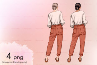 A Woman Stands with Her Back Clipart Graphic Illustrations By arctiumstudio