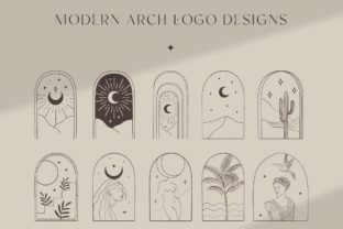 Print on Demand: Bohemian Modern Arch Logo Designs. Nude. Graphic Logos By Olya.Creative