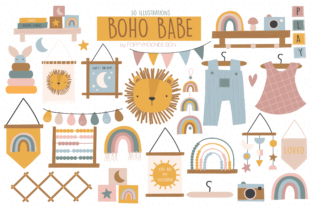 Print on Demand: Boho Baby Clipart Set Graphic Illustrations By poppymoondesign