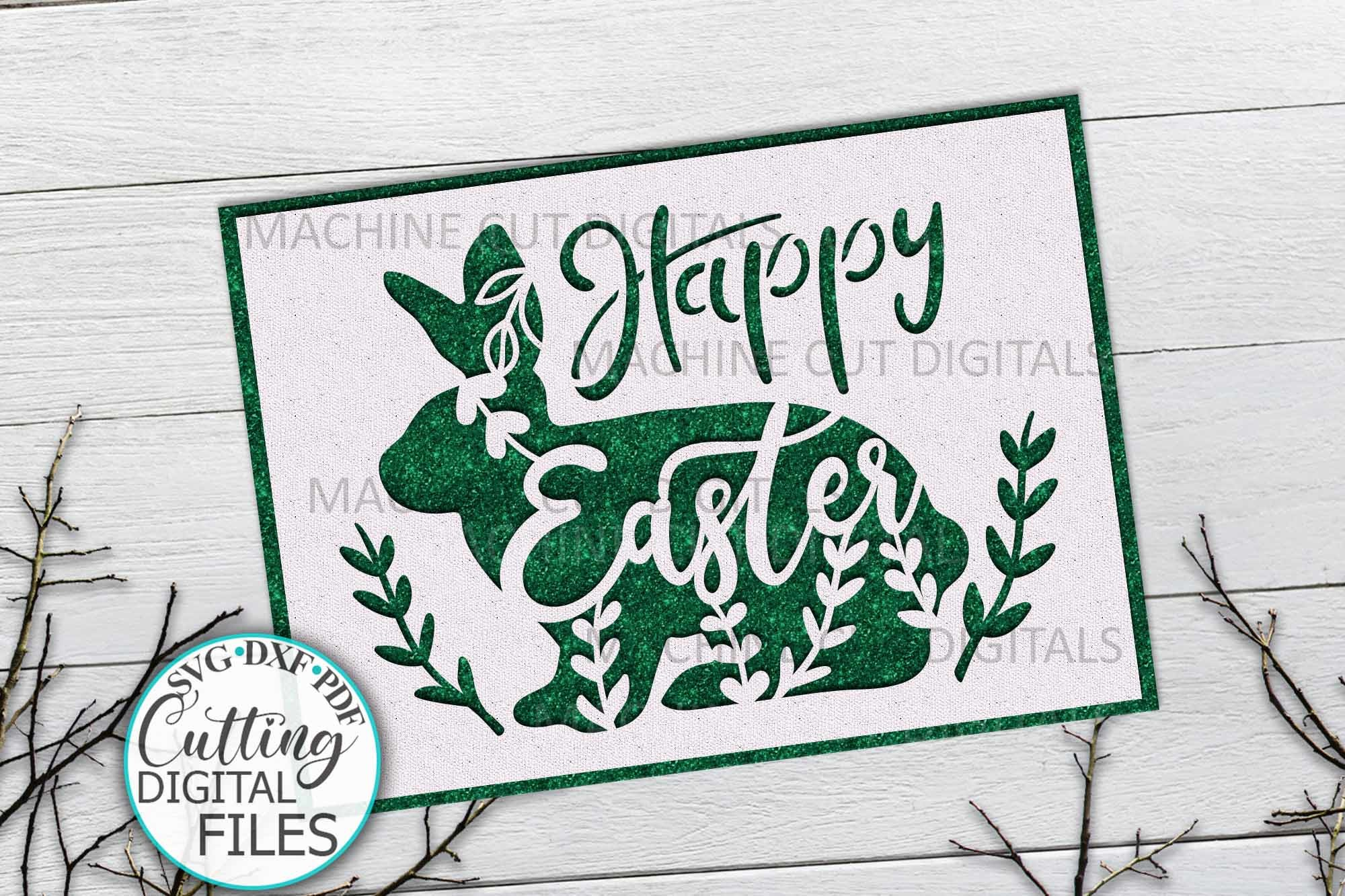 Bunny Easter Card Svg Cut out Template SVG File
