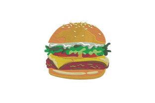 Cheese Burger Food & Dining Embroidery Design By DigitEMB