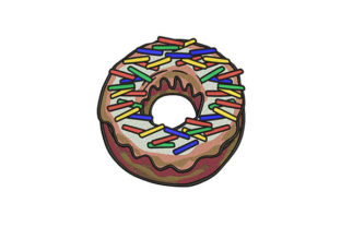 Coffee Sprinkled Donut Dessert & Sweets Embroidery Design By DigitEMB