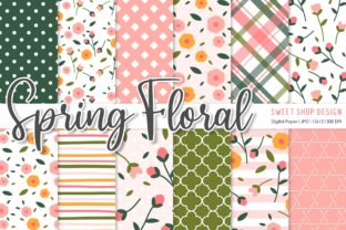 Digital Paper Pack Spring Floral Graphic Patterns By Sweet Shop Design