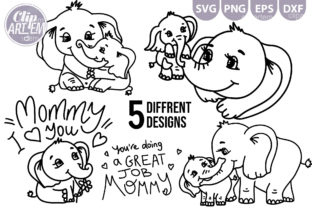 Print on Demand: Elephant Mom Baby 5 SVG Clip Art Bundle Graphic Illustrations By clipArtem