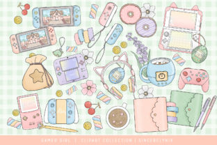 Print on Demand: Gamer Girl Clipart Illustration Graphic Illustrations By SincerelyNix 1
