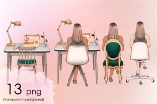 Girl Sitting on Chairs Different Types Graphic Objects By arctiumstudio