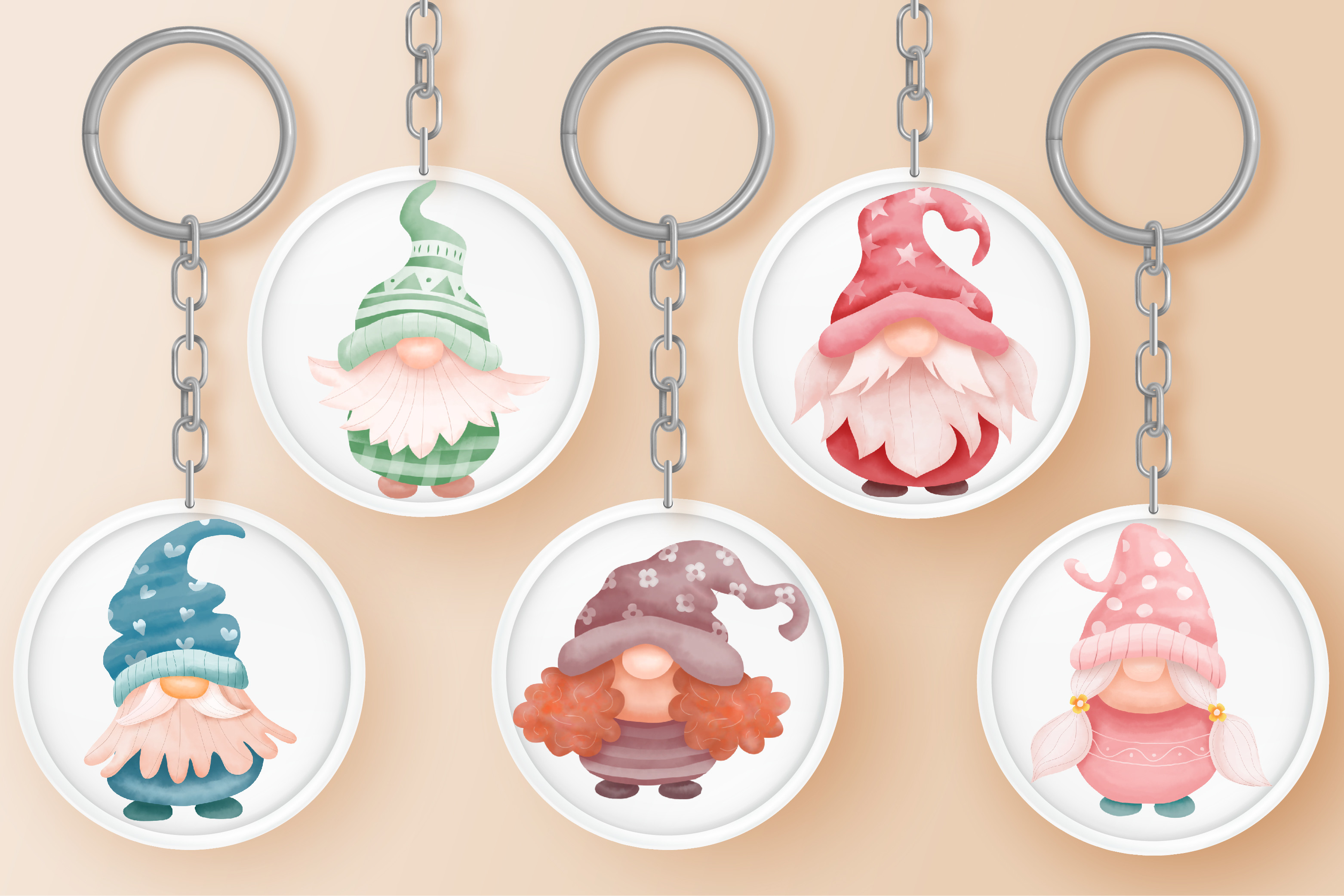 Gnomes Keychain Graphic SVG File