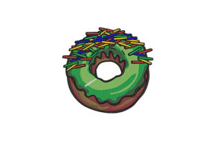 Green Sprinkled Donut Dessert & Sweets Embroidery Design By DigitEMB