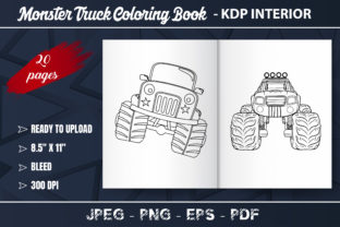 Monster Truck Coloring Book for Kids Graphic Libros para colorear - Niños By KDP Zone