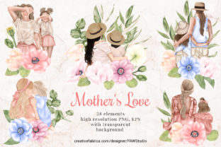 Print on Demand: Mothers Day Clipart Anemone Flower Leavs Graphic Illustrations By PawStudio
