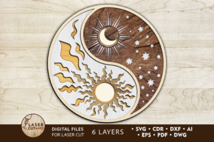 Print on Demand: Multilayer Cut File Ornaments YIN YANG Graphic 3D SVG By LaserCutano