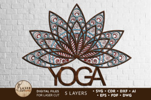 Multilayer Cut File Sign YOGA LOGO Graphic 3D SVG By LaserCutano