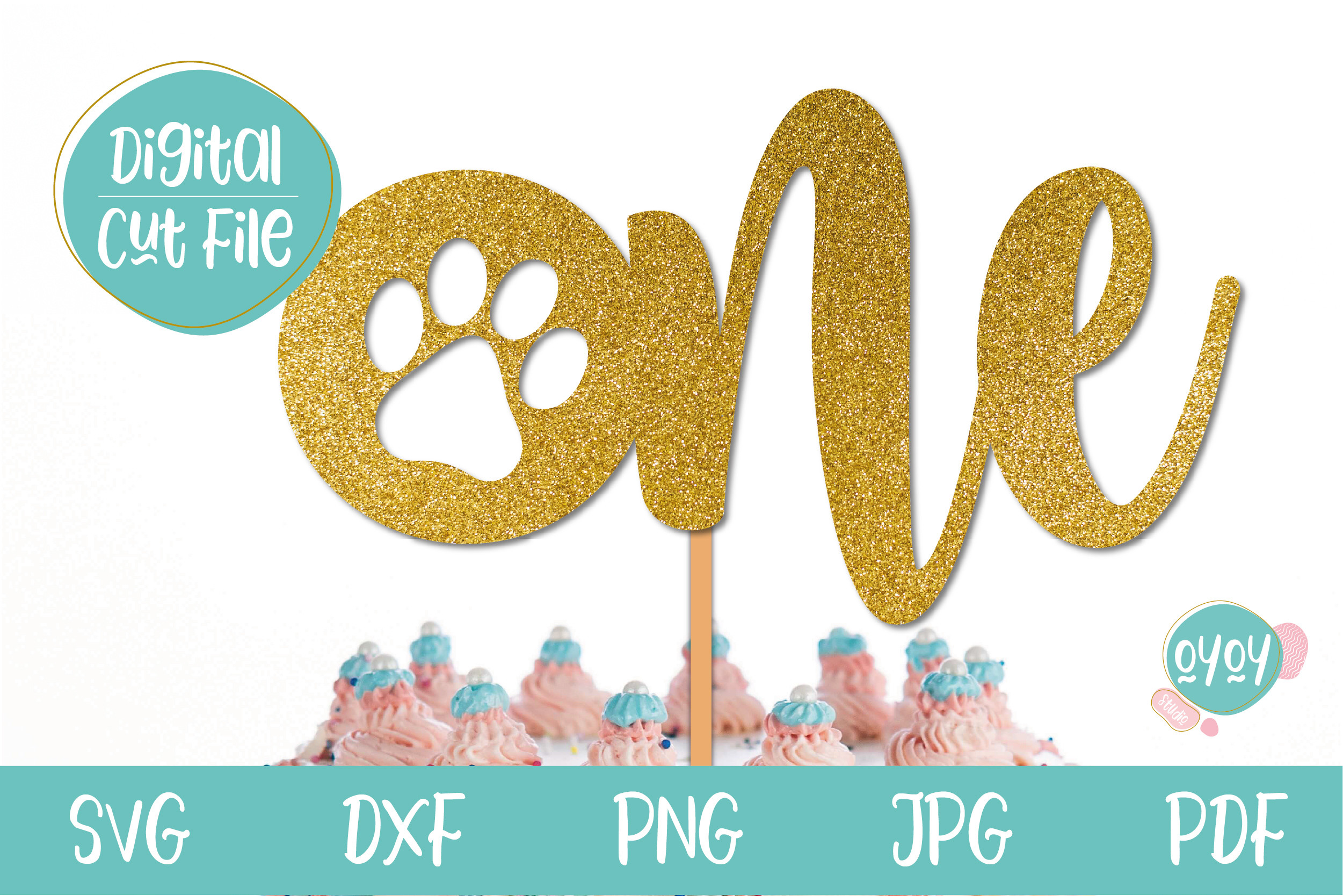 One Cake Topper with Paw | 1st... SVG File