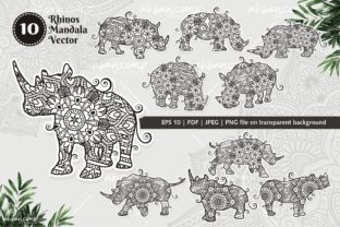 Print on Demand: Rhinos Mandala Vector Line Art Bundle Graphic Crafts By Ahsancomp Studio