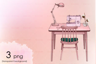 Rose Gold Sewing Table, Sewing Machine Graphic Illustrations By arctiumstudio