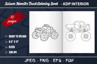 Scissor Monster Truck Coloring Book Graphic Coloring Pages & Books Kids By KDP Zone