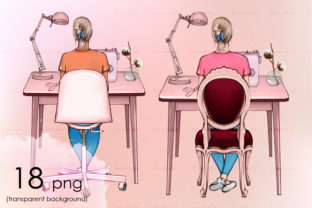 Sewing Table and Girl Sitting on a Chair Graphic Objects By arctiumstudio