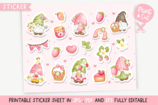 Print on Demand: Strawberry Gnomes Printable Stickers Graphic Illustrations By Chonnieartwork