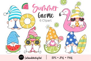 Summer Gnome Clipart Graphic Illustrations By CatAndMe