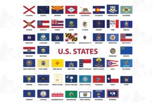 Print on Demand: USA Capital and States Flags Collection Graphic Print Templates By CreartGraphics