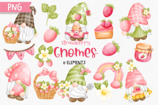 Print on Demand: Watercolor Strawberry Gnomes Clipart Grafik Illustrationen von Chonnieartwork