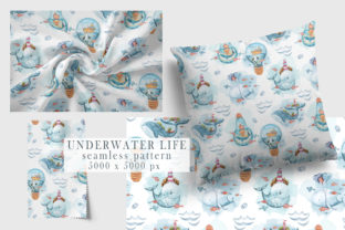 Print on Demand: Watercolor Whales Seamless Patterns. Graphic Patterns By Tiana Geo